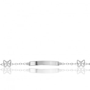 Gourmette Or Blanc 18K Papillons