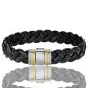Bracelet 698 Cuir Tressé Noir, Acier & Or Jaune 18K