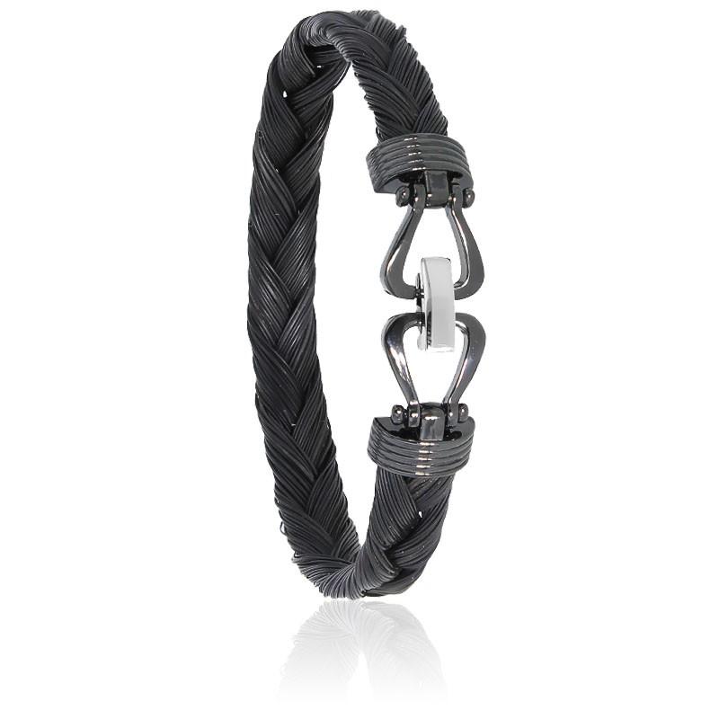 Bracelet 731N Poils de Girafe Tressé, Acier & Or Blanc 18K