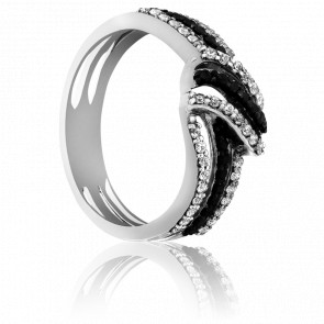 Bague Munnar Or Blanc et Diamants Noirs