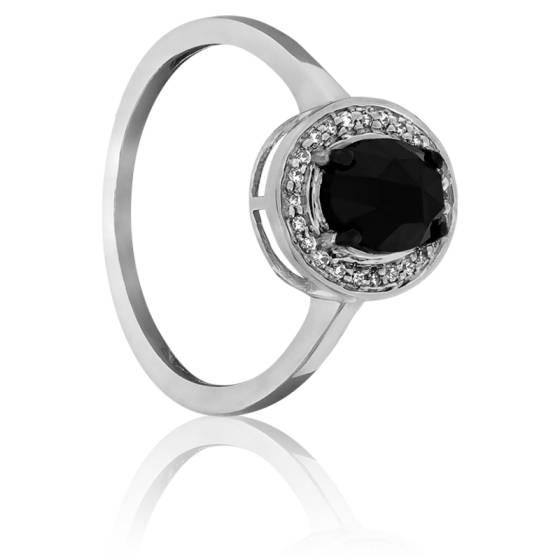 392ea443ab0 Bague Dark Oval Diamant Noir 1.00ct   Or Blanc 18K - Kundan - Ocarat
