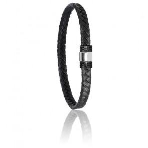 Bracelet 614N Poils de Girafe Tressé, Acier & Or Blanc 18K