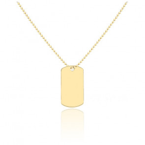 Collier Plaque Or Jaune 9K