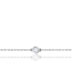 Bracelet Diamant Solitaire & Or Blanc 18K