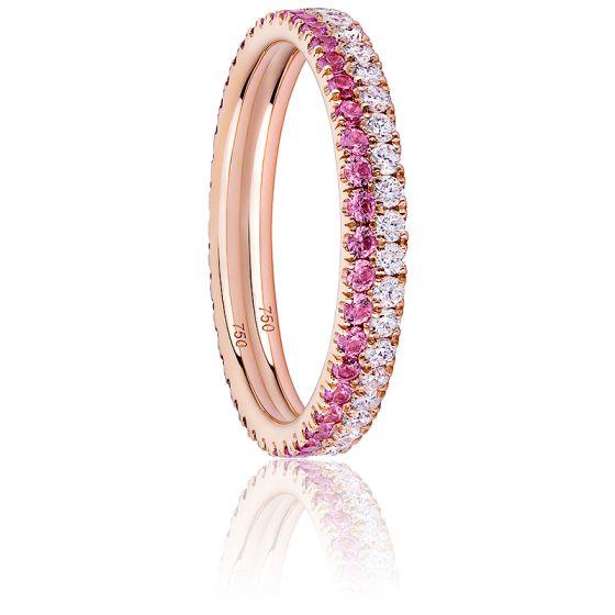 Alliance Duo Eternity Diamants, Saphirs Roses & Or Rose 18K