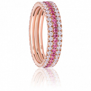 Alliance Trio Eternity Diamants, Saphirs Roses & Or Rose 18K