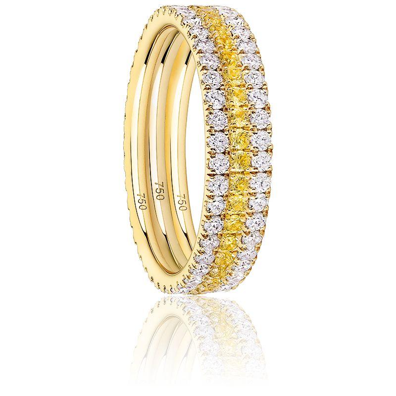 Alliance Trio Eternity Diamants, Saphirs Jaunes & Or Jaune 18K
