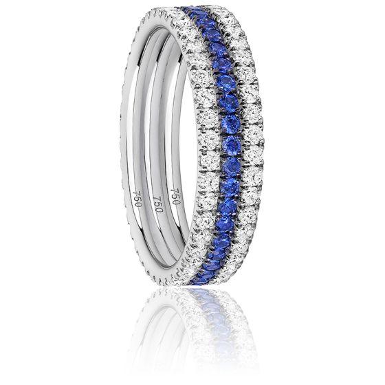 Alliance Trio Eternity Diamants, Saphirs Bleus & Or Blanc 18K