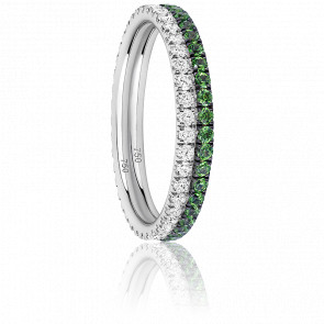 Alliance Duo Eternity Diamants, Grenats verts & Or Blanc 18K
