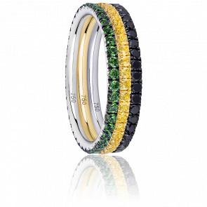 Alliance Trio Eternity Diamants Noirs, Saphirs Jaunes, Grenats Verts & 2 Ors