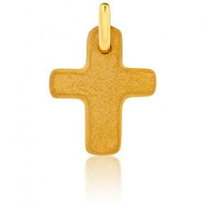 Croix Antique Large Brossée Or Jaune 18K