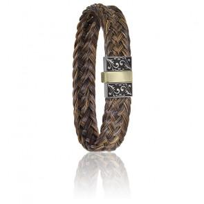 Bracelet 604/2 Gravé Crin de Cheval Marron, Acier & Or Jaune 18K