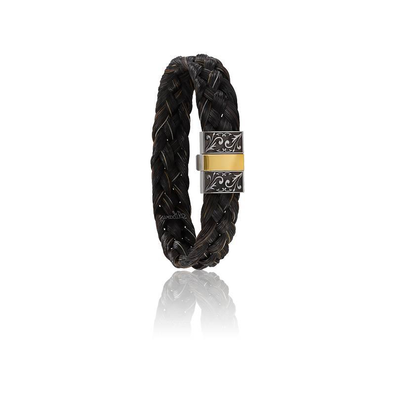 Bracelet 604/2 Gravé Crin de Cheval Noir, Acier & Or Jaune 18K