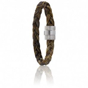 Bracelet 606 Crin de Cheval Marron & Acier