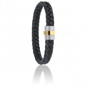 Bracelet 607 Crin de Cheval Noir, Acier & Or Jaune 18K