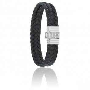 Bracelet 696D Crin de Cheval Noir, Diamants & Or Blanc 18K