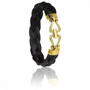 Bracelet 730D Garrano Crin de Cheval Noir, Diamants & Or Jaune 18K