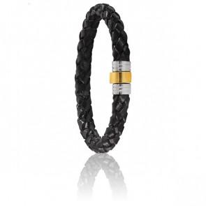 Bracelet 703 Cuir Tressé Noir, Acier & Or Jaune 18K