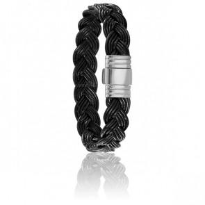 Bracelet 696 Calvana Cuir Noir & Or Blanc 18K