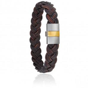 Bracelet 604/2 Cuir Tressé Marron, Acier & Or Jaune 18K