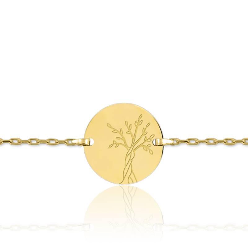 Bracelet Medaille Arbre de Vie Or Jaune 9K