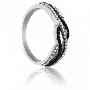 Bague Mussoorie Or Blanc et Diamants Noirs