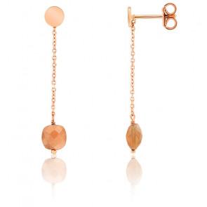 Boucles d'oreilles pendantes, pierre de lune pêche et chaîne plaqué or rose