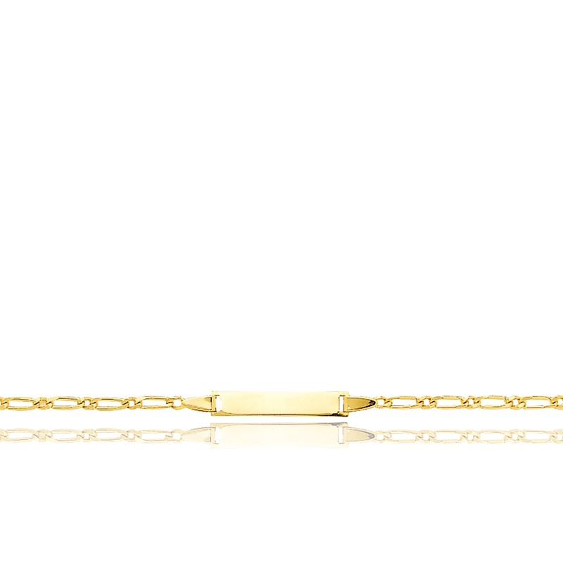 Gourmette Rectangle Maille Cheval Alternée Or Jaune 18K