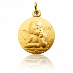 Médaille Ange Raphaël Pensif 16 mm Or Jaune 18K