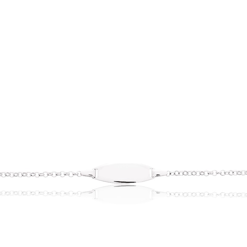 Gourmette Ovale Jaseron Or Blanc 9K