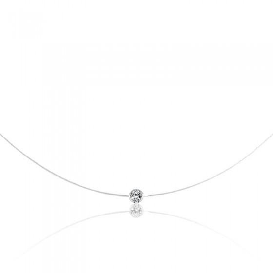 Collier Shine Fil de Pêche, Diamant & Or Blanc 18K