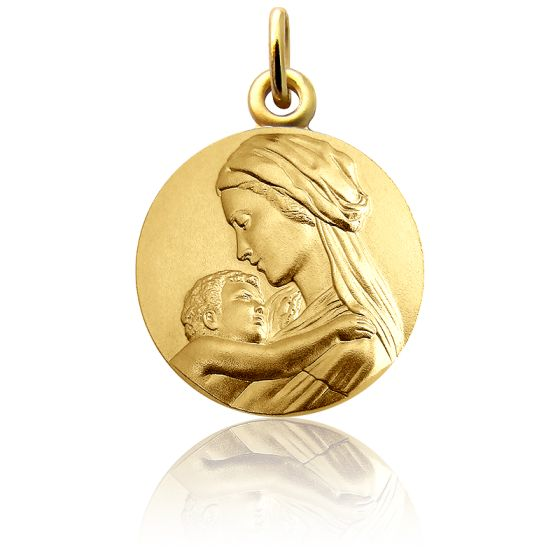 Médaille Vierge à l'Enfant Tendresse Or Jaune 18K
