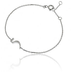 """Bracelet Chiffre """"5"""" Argent et Diamants"""