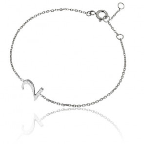 """Bracelet Chiffre """"2"""" Or Blanc et Diamants"""