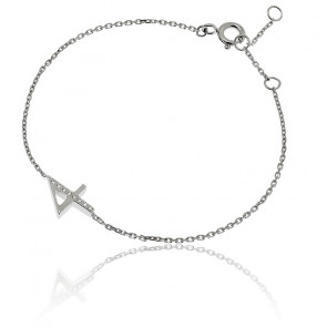 """Bracelet Chiffre """"4"""" Or Blanc et Diamants"""