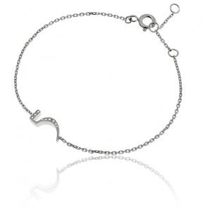"""Bracelet Chiffre """"5"""" Or Blanc et Diamants"""