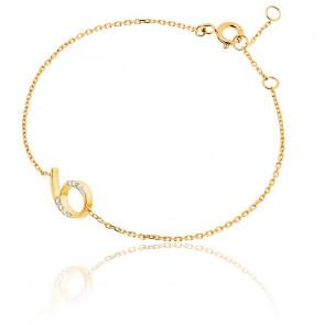 """Bracelet Chiffre """"6"""" Or Jaune et Diamants"""