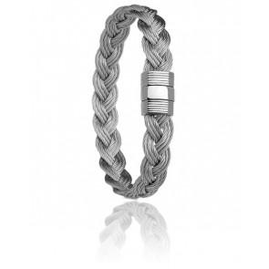 Bracelet 606 Passeresse Acier Tressé & Or Blanc 18k