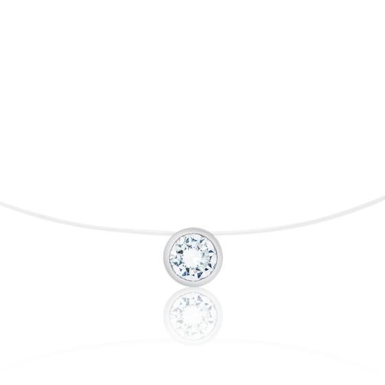 Collier Shine Fil de Pêche, Diamant & Or Blanc 18K, 42 cm