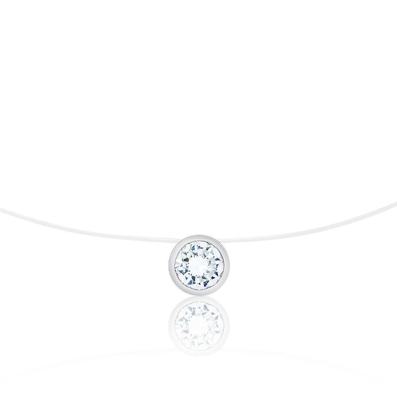 Collier Shine Fil de Pêche, Diamant & Or Blanc 18K, 40 cm