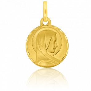 Médaille Facettée Petite Vierge Auréolée Or Jaune 9K