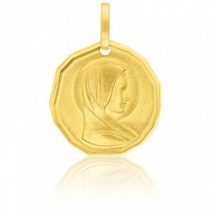 Médaille Octogonale Vierge Profil Or Jaune 9K