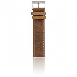 Bracelet Nato 20 mm Vintage chocolat, Longueur 235mm, Boucle silver