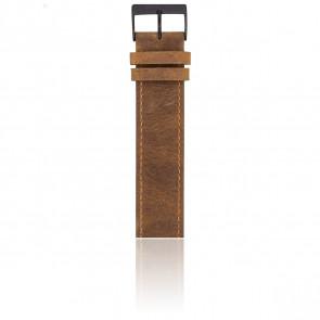 Bracelet Nato 20 mm Vintage chocolat, Longueur 235mm, Boucle noire mate