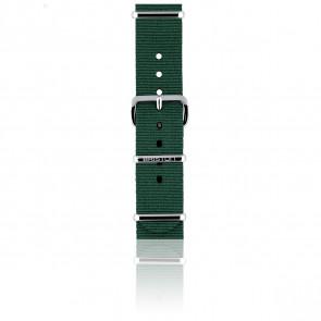 Bracelet Nato 18 mm Vert anglais, Longueur 230mm, Boucle silver