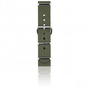 Bracelet Nato 18 mm Vert militaire, Longueur 230mm, Boucle silver