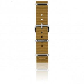 Bracelet Nato 18 mm Moutarde, Longueur 230mm, Boucle silver