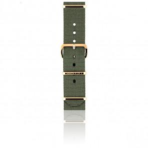 Bracelet Nato 18 mm Vert militaire, Longueur 230mm, Boucle PVD or rose