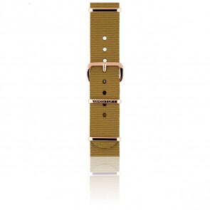 Bracelet Nato 18 mm Moutarde, Longueur 230mm, Boucle PVD or rose