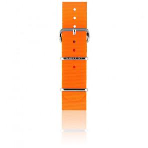 Bracelet Nato 18 mm Orange fluo, Longueur 230mm, Boucle silver